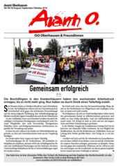 Die aktuelle Avanti O. August/September/Oktober 2018 mit beigelegtem Flug der Gewerkschafter*innen für Klimaschutz zur Demo am 6.10.18 im Hambacher Wald.