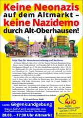 Flyer Wio Gegenkundgebung gegen die Nazi-Gruppierung in Oberhausen 28.9.2016