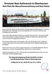 Aufruf des Runden Tisches Oberhausen gegen die Nazi Kundgebung und Demo am 24.11.2016 in Oberhausen Sterkrade