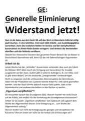 Flugblatt des RSB Rhein-Neckar vom 1.12.2016 zur aktuellen Situation bei GE in Käfertal