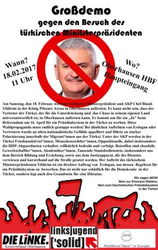 """Aufruf der Partei """"Die Linke"""" gegen den Auftriit von Yildirim am 18.2.2017 in Oberhausen"""