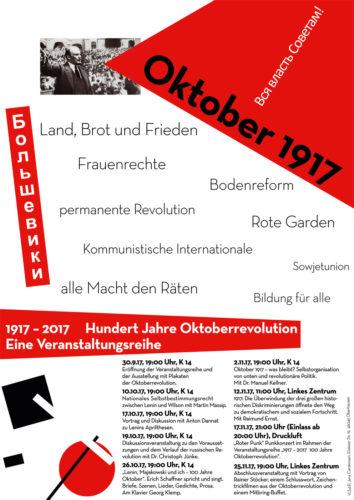 Flyer der Veranstaltungsreihe zur Oktoberrevolution in Oberhauisen.