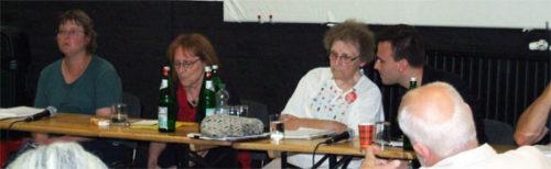 Dianne Feeley bei der Veranstaltung am 28.08.2017 in Oberhausen (3. von links). Foto: Avanti O.