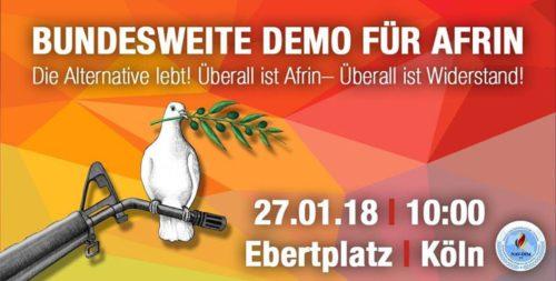 Bundesweite Demo für Afrin - 27.01.2018 Ebertplatz Köln