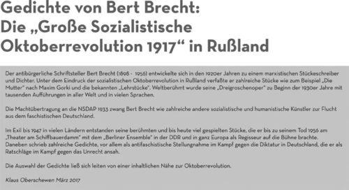 """Gedichte von Brecht - Veranstaltungsreihe """"Oktoberrevolution"""" in Oberhausen."""