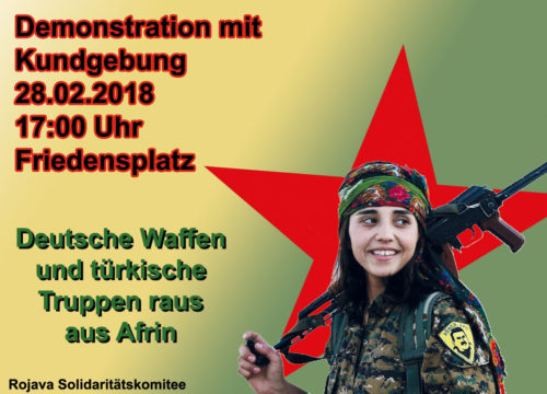 Demonstration - Solidarität mit Afrin in Oberhausen am 28.02.2018.