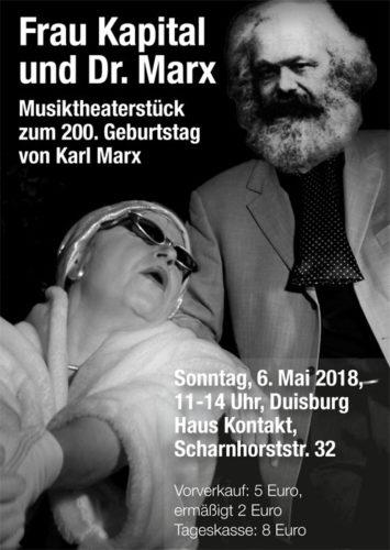 Der Veranstaltungsflyer zum Download. Karl Marx wird 200 - Veranstaltung 6.5.18 in Duisburg.