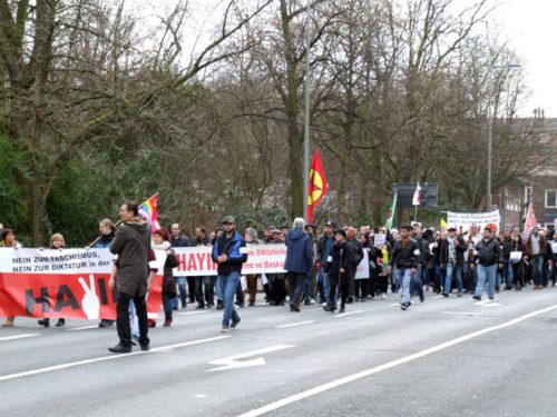 Klare Ansage gegen das Erdogan-Regime: Protest gegen den Besuch von Ministerpräsident Yildirim, Oberhausen, 18.02.17.