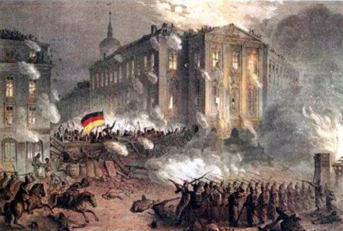 Straßenkämpfe am Alexanderplatz in Berlin im Jahr 1848 während der Deutschen Revolution. Abbildung: Wikipedia, Gemeinfrei.