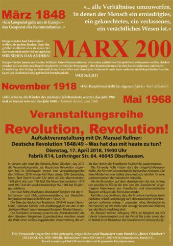 "Veranstaltungsreihe ""Revolution, Revolution!"" in Oberhausen Auftaktveranstaltung mit Dr. Manuel Kellner am 17.04.2018 in Oberhausen."