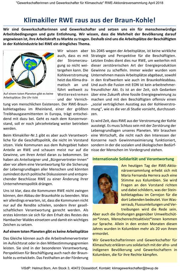 Flugblatt der GewerkschafterInnen für Klimaschutz  … <a href=