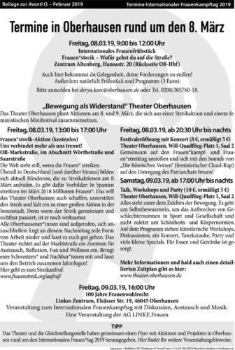 Termine in Oberhausen zum 8. März 2019