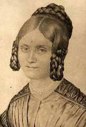 """Zeitgenössische Abbildung von Mathilde Franziska Anneke, erschienen 1840 in """"Der Märker"""". Abbildung: Gemeinfrei."""