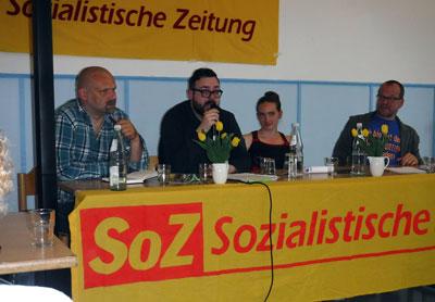 Podiumsdiskussion bei der SoZ-Feier, Köln, 5. Mai 2018. Foto: AvantiO.