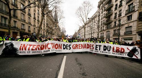 Verbot von Granaten und Gummigeschossen – Marsch der Verletzten in Paris, 2. Februar 2019. Copyright Photothèque Rouge Martin Noda.