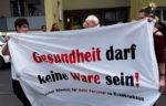 Transparent auf der Solidemo für die streikenden Kolleg*innen am 9. August 2018 in Essen. Foto: R. Hoffmann.