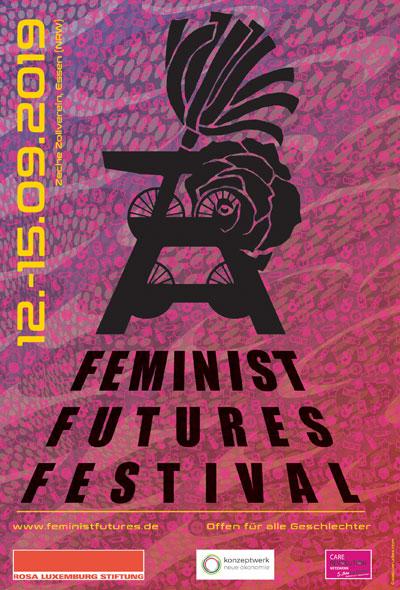 Grafiken: Saskia Rudies. Flyer Feminist Futures Festival Essen.