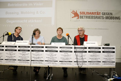 "Podium der Konferenz ""BR im Visier"" in Mannheim, 19. Oktober 2019. Foto: helmut-roos@web.de."