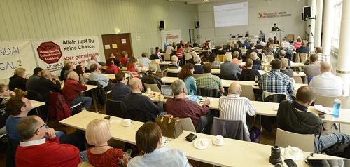 """Plenum der Konferenz """"BR im Visier"""" in Mannheim,19. Oktober 2019. Foto: helmut-roos@web.de."""