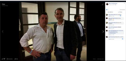 Marko Papenberg, Selfie mit dem Faschisten B. Höcke. November 2018 in Bottrop. Screenshot Facebook Account Marko Papenberg.