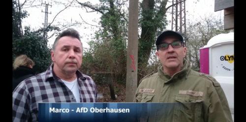Marko Papenberg zusammen mit dem Nazi Holm Teichert in einem Propagandavideo im dem obdachlose suchtkranke Menschen instrumentalisiert werden. März 2019. Screenshot aus dem Propagandavideo.