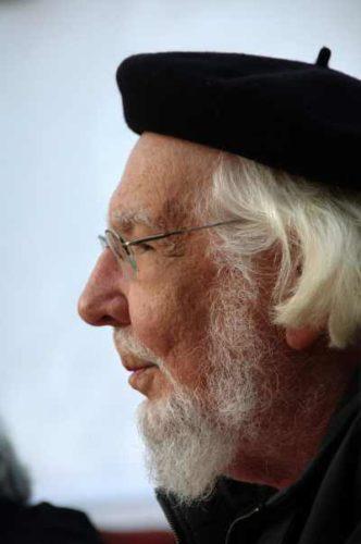 Ernesto Cardenal, 2009. Foto:  Roman Bonnefoy (Manifestation publique).
