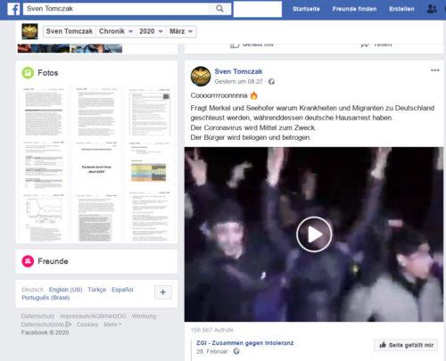 Weiterer geteilter Beitrag von Sven Tomczak zu Corona. Screenshot Facebook Account Sven Tomczak.