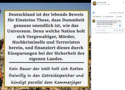 Eindeutiges Meme von Sven Tomczak nebst eindeutigem Kommentar. Screenshot Facebook Account Sven Tomczak.