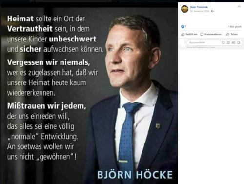Geteilter Beitrag von Sven Tomczak. Screenshot Facebook Account Sven Tomczak.