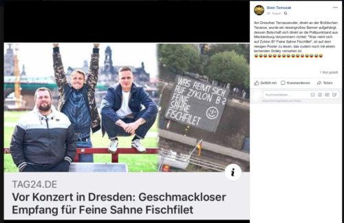 Von Sven Tomczak geteilter Beitrag der Online Zeitung TAG24.DE - mit einer Kommentierung von Sven Tomczak bestehend aus 15 lachenden/sich freuenden Smilies. Screenshot Facebook Account Sven Tomczak.
