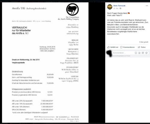 Der bei der Feuerwehr der Stadt Essen (öffentlicher Dienst) arbeitende Sven Tomczak verbreitet wirre Verschwörungstheorien und zweifelt den ordnungsgemäßen Ablauf von Wahlen an. Screenshot Facebook Account Sven Tomczak.