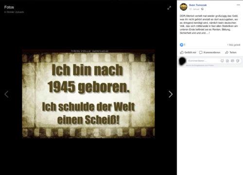 Screenshot Facebook Account Sven Tomczak.