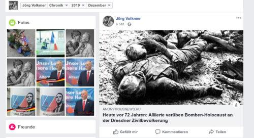 Screenshot Facebook Account Jörg Volkmer.