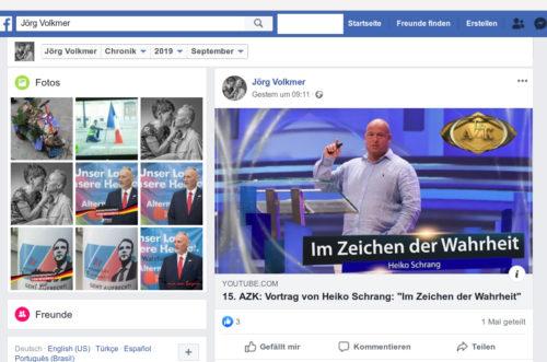 Beitrag von Jörg Volkmer mit Beitrag der AZK (Anti-Zensur-Koaliation), regelmäßig in der Schweiz stattfindende Veranstaltung von Holocaustleugnern und Rechten Verschwörungstheoretikern. Screenshot Facebook Account Jörg Volkmer.