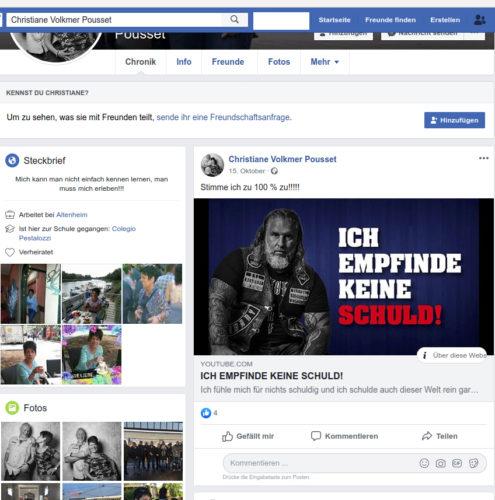 Screenshot Facebook Account Christiane Volkmer-Pousset.
