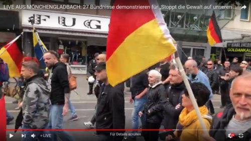Jörg Volkmer und Christiane Volkmer-Pousset bei der Nazidemonstration am 8. September 2019 in Mönchengladbach. Screenshot aus dem Livestream eines Nazi Youtubers.