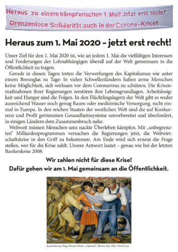Aufruf 1. Mai 2020 Oberhausen