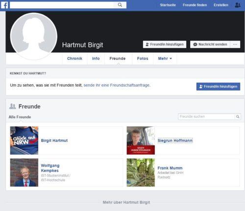 Einer der Facebook Accounts die von Birgit und Hartmut Mumm im Vorstand der AfD Oberhausen benutzt werden. Eher als Reserveaccount angelegt, Freundesliste offen mit wenigen. Dort in der Freundesliste zu sehen Siegrun Hoffmann. Siehe nächsten Screenshot. Screenshot Facebook.