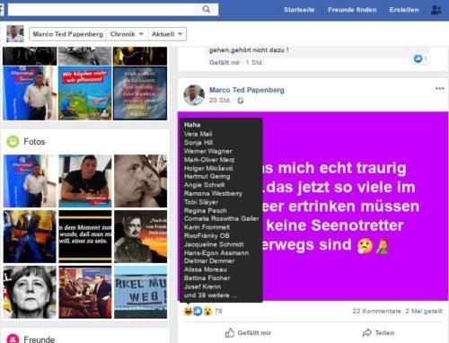 Eine kleine Übersicht zu vorherigem Bild - wer das alles mit Haha bewertet hat. Screenshot Facebookaccount Marko Papenberg.
