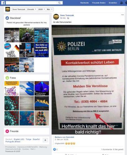 Facebook Beitrag des immer noch im öffentlichen Dienst bei der Stadt Essen (Feuerwehr) beschäftigten Sven Tomczak aus Oberhausen der lauft Eigenaussage zum 1.6.20 aus dem Vorstand der AfD Oberhausen zurückgetreten ist. Screenshot von einem der Facebookaccounts von Sven Tomczak.