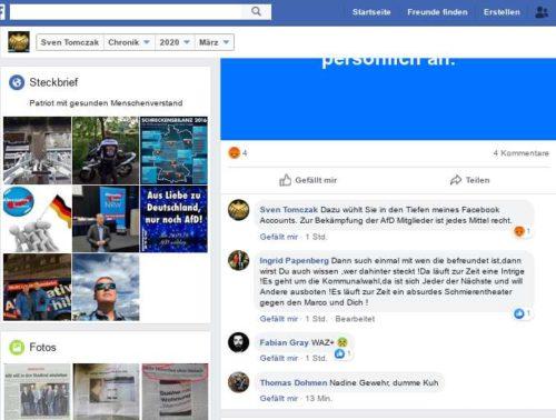 Zu dem Artikel der WAZ Oberhausen über rechte Inhalte und Fakenews von Sven Tomczak einige der Kommentare darunter. Screenshot Facebookaccount Sven Tomczak.