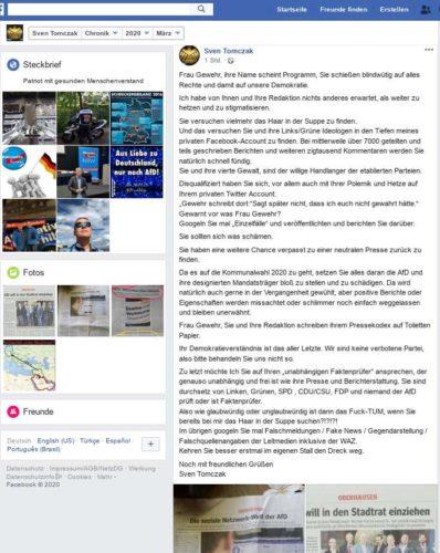 Ein Versuch des im öffentlichen Dienst bei der Stadt Essen (Feuerwehr) Angestellten Sven Tomczak auf die in der WAZ Oberhausen dargestellten Sachverhalte bezüglich rechter Inhalte zu reagieren. Screenshot Facebookaccount Sven Tomczak.