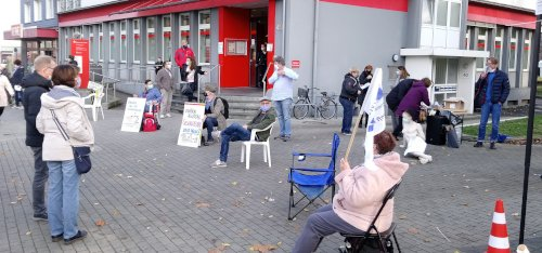 Protestaktion in Essen-Katernberg gegen die Schließung von Contilia Kliniken, 31. Oktober 2020. Foto: Avanti O.
