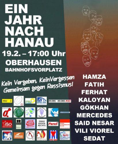 Aufruf Gedenkveranstaltung Hanau am 19.2.21 in Oberhausen.