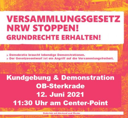 """Aufruf Demo Oberhausen Sterkrade gegen das """"Neue Versammlungsgesetz""""  12. Juni 2021 - 11:30 Uhr Centerpoint"""
